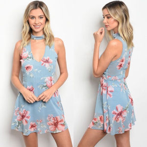 Dresses & Skirts - blue floral babydoll dress, blue choker dress